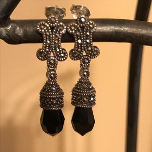 Marcasite and onyx earrings.